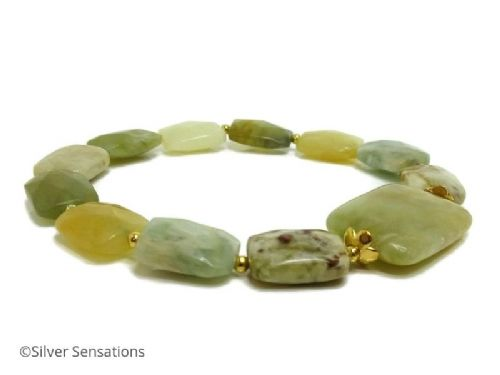 Marbled Greens & Yellows Flake Jade Beaded Bracelet